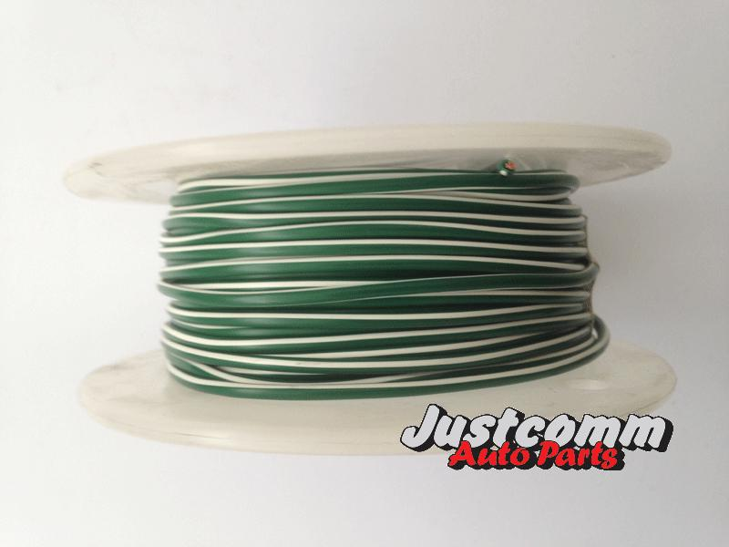 OEX AUTOMOTIVE CABLE 30m ROLL 3mm SINGLE CORE WIRE- GREEN / WHITE STRIPE ACX0720