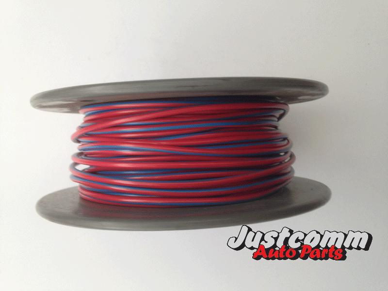 OEX AUTOMOTIVE CABLE 30m ROLL 3mm SINGLE CORE WIRE - RED / BLUE STRIPE ACX0721