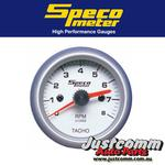 GENUINE SPECO SPORT SERIES 2inch SILVER DIAL 8000RPM IN-DASH TACHO - 524-01