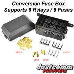 Automotive Fuse box Supports 6 Relays & 6 Fuses - Great for conversions