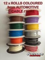 AUTOMOTIVE CABLE 12 x 30m METRE ROLLS 3mm SINGLE CORE WIRE, COLOURED AUTO CABLES