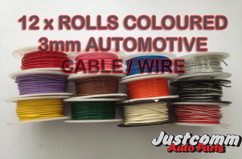 huhuhuhuhAUTOMOTIVE CABLE 12 x 30m METRE ROLLS 3mm SINGLE CORE WIRE, COLOURED AUTO CABLES